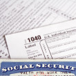 Social Security card and tax forms — Stock fotografie