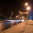 Stock Photo: Suspension bridge at night
