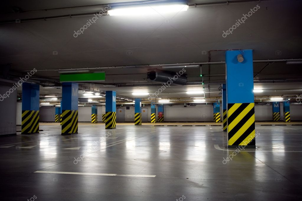 Parking garage of shopping center, underground interior — Stock Photo #2555790