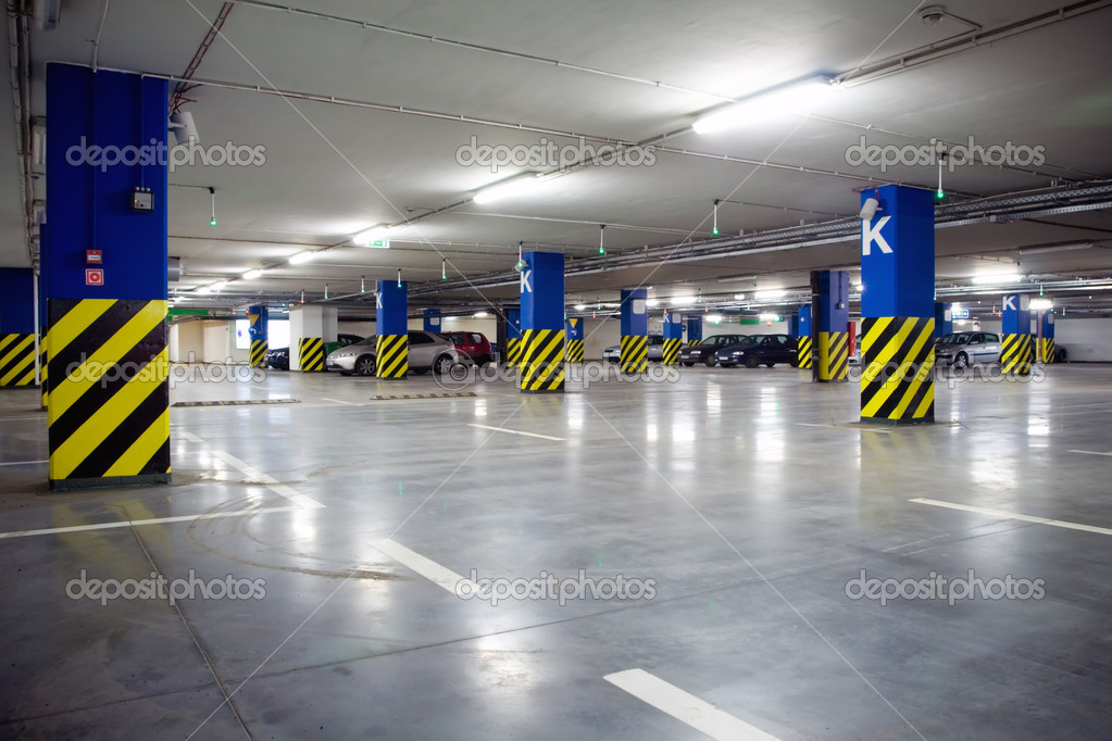 Parking garage of shopping center, underground interior — Stock Photo #2555793