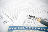 Tax forms and Social Security Card — Stock Photo
