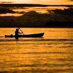Fisherman at dusk — Stock Photo