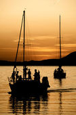 Boat at dusk — Stock Photo