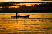 Fisherman at dusk — Stock Photo