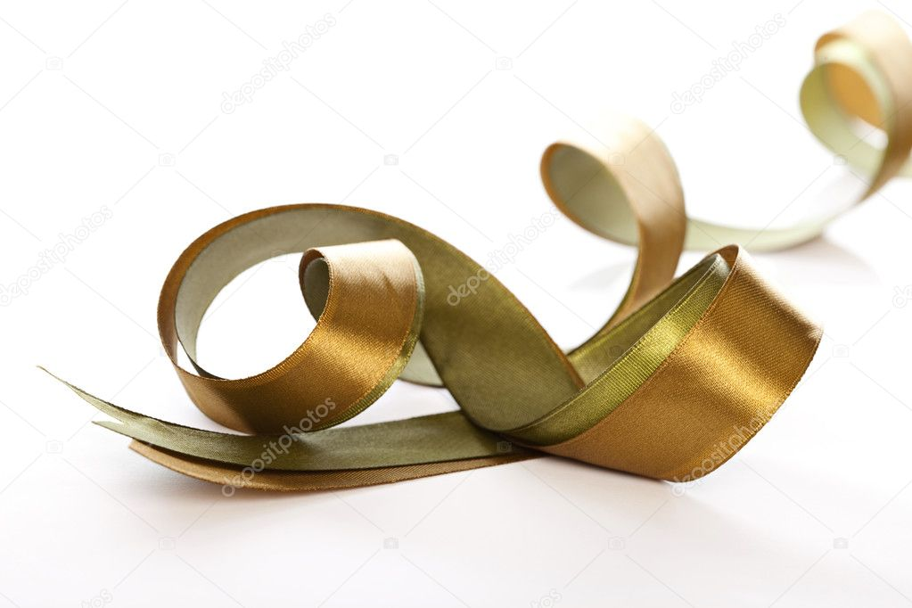 White and gold gift satin ribbon on white background — Photo #2522906