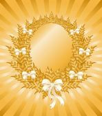 Christmas gold wreath — Stock Vector