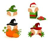 Set of nice santa Clauses — Stock Vector