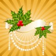 Christmas holly decorate — Stock Vector
