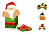 Set of santa Clauses — Stock Vector