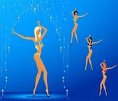 Women dancing a striptease — Stock Vector