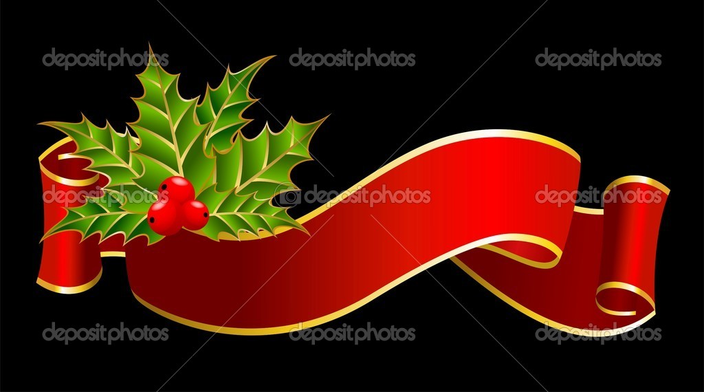 Bright christmas red ribbon on a black background — Stock Vector #1632553