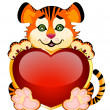 Little tiger with heart — Stock Vector #1655288