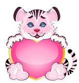 Lilla tiger med hjärta — Stockvektor