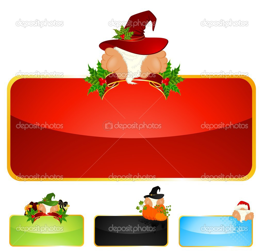 Set of beautiful christmas backgrounds with gnomes — Stock Vector #1654896