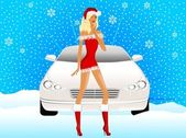 Snow maiden on a background a car — Stock Vector