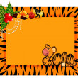 Little tiger in a christmas frame — Stock Vector
