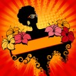 Banner with  flowers and African girl — Imagen vectorial