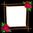 Frame from bamboo with tropical flowers — Stock Vector #2651827