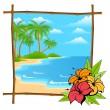 Palm tree vector in bamboo frame — Stock Vector