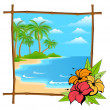 Palm tree vector in bamboo frame - Stock Vector