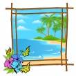 Stock Vector: Palm tree vector in bamboo frame