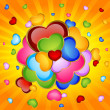 Background with beautiful hearts - Imagen vectorial
