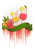 Flowers and summer cocktail — Stock Vector