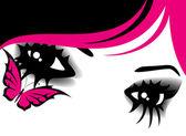 Womanish ojos — Vector de stock