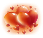 Red hearts for valentine day card — Stock Photo