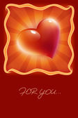 Red heart postcard — Stock Photo