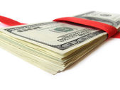 Money with red ribbon — Stock Photo