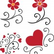 Pattern of flowers and hearts — Imagen vectorial