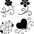 Pattern of flowers and hearts - Stock Vector