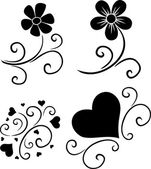 Pattern of flowers and hearts — Vector de stock