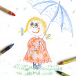 Kid girl with umbrella, drawing — Stock Photo #1894401