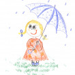 Kid girl with umbrella, drawing — Stock Photo #1901421