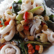 Royalty-Free Stock Photo: Thaifood whit calamari, shrimp, fish, rice, chili, vegetables