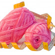 Pink yarn balls with measuring tape — Stock Photo