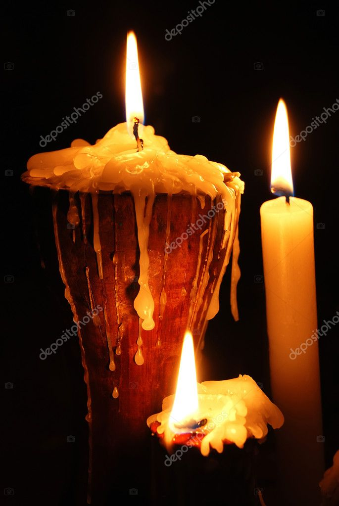 Burning Wax candles On Black Background — Stock Photo #1669225