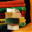 Handmade Soap And Towels — Stock Photo