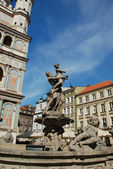 Fountain Poznan at old market — Stock Photo