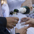 Stock Photo: Newlyweds poured champagne on weddin