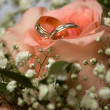 Wedding bouquet with wedding rings — Stockfoto