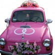 Pink wedding car — Stock Photo