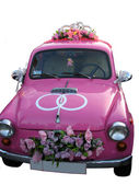Pink wedding car — Stock fotografie