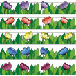 Multicolored flowers lines background — Stock Vector