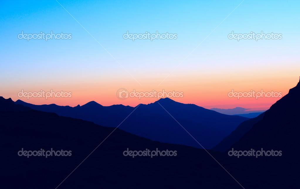 Blue mountains at the sunset time — Stock Photo #2374860