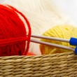 Frail of knitting tools — Stock Photo