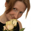 Young woman with white roses — Stock Photo