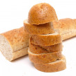 Stock Photo: Cutted long loaf with bran